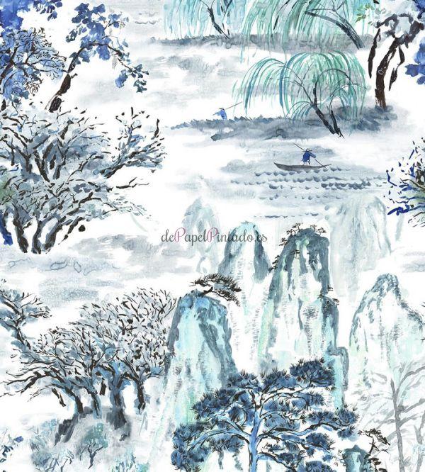 Papel pintado paisajes papel pintado art dco con paisaje for Papel pintado paisajes